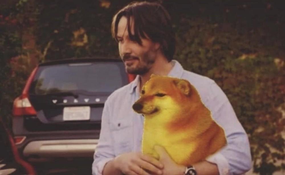 Keanu hugging doge